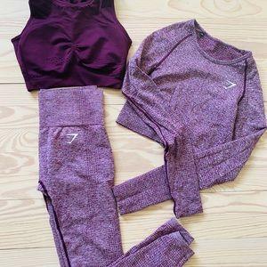 Gymshark workout legging, crop top and sports bra
